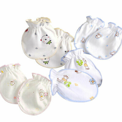 Mittens Infant Cotton Soft Baby Newborn Anti Scratch 4 Pairs Cartoon Gloves