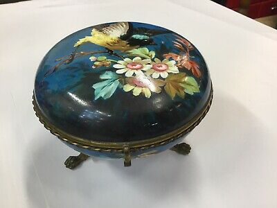 Vintage Antique French Ormolu Large Jewellery Box Round Hand Painted Porcelain