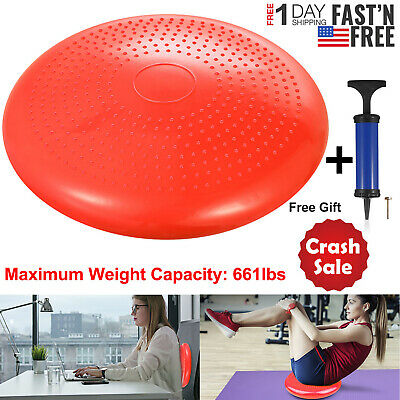 Air Stability Wobble Cushion with Pump Balance Disc Wiggle Seat Exercise Fitness