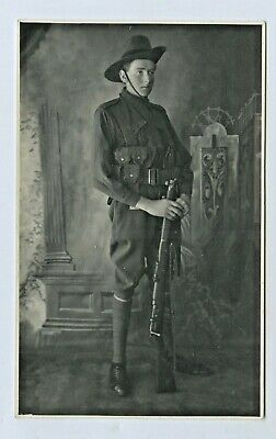 Ww1 Aif Pre Embarkation Rp Postcard Soldier In Kit With Rifle Adelaide S.aus C81