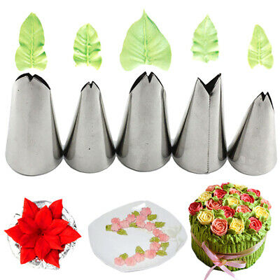 5Pcs Leaves Nozzles Stainless Steel Icing Piping Nozzles Tips Pastry Cake De HT