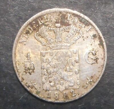 Netherlands East Indies 1882 silver 1/10 Gulden cleaned