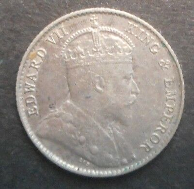 Straits Settlements 1910  KEVII  KGV 5 Cent silver  Coin  Better detail