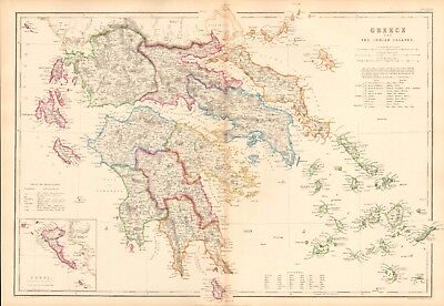 1859  Large Antique Map - Hughes - Greece And The Ionian Islands