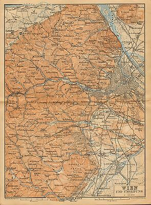 1900  Antique Map-Austria- Vienna And Adjacent Countryside
