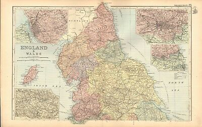 1893 Antique Map - England And Wales North, Isle Of Man, Liverpool, Yorkshire