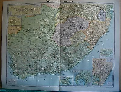 1919 Large Map- South Africa,Railways, Insets Durban,Cape Town,Pretoria,Jo'burg