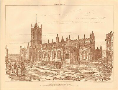 1893 Antique Architectural Print-Cathedral-Manchester By F D Bedford