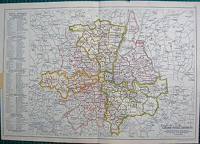 1912 Ca LARGE MAP-BACON -LONDON-POSTAL DISTRICTS