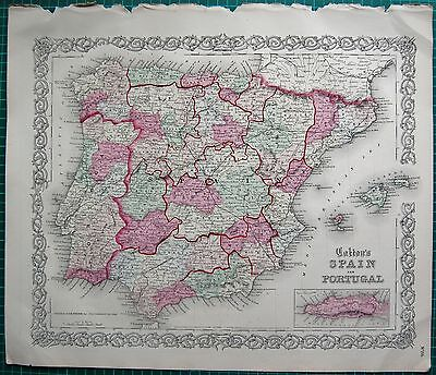 1855 Large Antique Map-Colton- Spain And Portugal