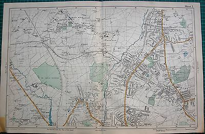 1912 Ca LARGE MAP-BACON -LONDON-FINCHLEY, HENDON, MILL HILL, H G SUBURB