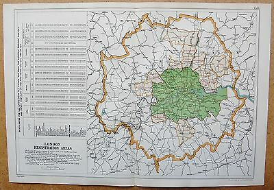 1912 Ca LARGE MAP-BACON - LONDON & SUBURBS- REGISTRATION AREAS