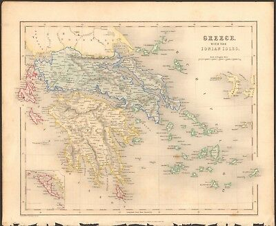 1840 ca ANTIQUE MAP - GREECE WITH THE IONIAN ISLES
