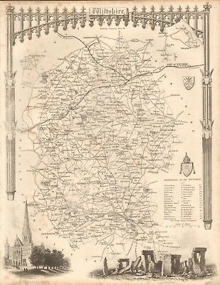 1840 Antique Map - Wiltshire By Thomas Moule