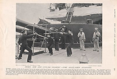 1897 Antique Military Print-Small Arm And Cutlass Exercise, Regulation Attitudes