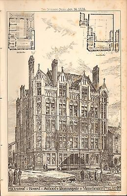 1885 Antique Architectural Print- Central Board School, Deansgate, Manchester