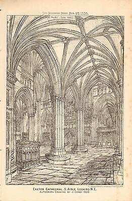 1884 Antique Architectural Print-Exeter Cathedral, South Aisle Looking Ne