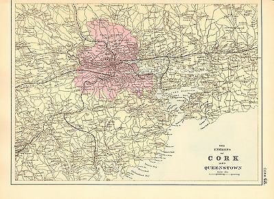 1891 Large Victorian County Map- Environs Of Cork And Queenstown