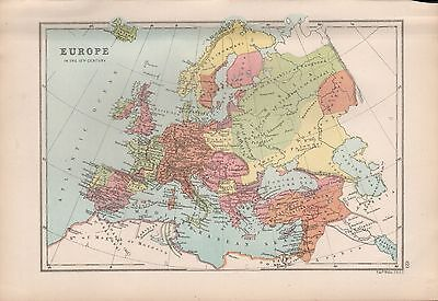 1875 Antique Map - Europe In The 12Th Century