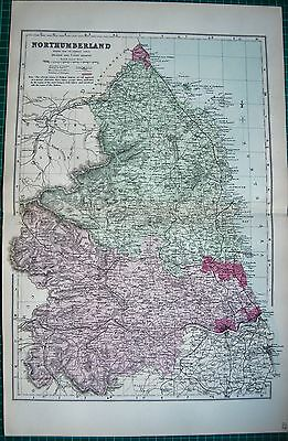 1884 Large Antique County Map-Bacon -Northumberland,Morpeth,Bellingham,Belford