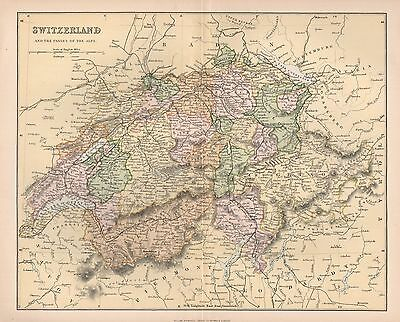 1900 Ca ANTIQUE MAP SWITZERLAND AND THE PASSES OF THE ALPS