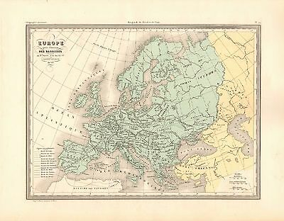 1880 Ca ANTIQUE MAP- MALTE-BRUN- EUROPE AFTER THE INVASION OF THE BARBARIANS