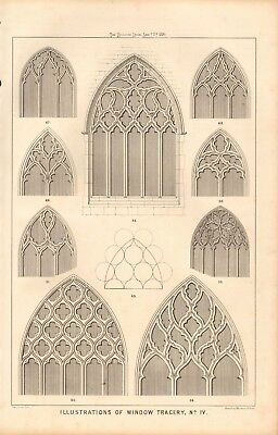 1870 Antique Architecture, Design Print- Illustrations Of Window Tracery, #4