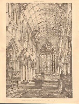 1893 Antique Architectural Print-Cathedral-Carlisle, View In Choir By Bedford