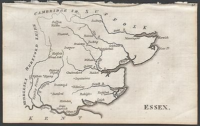 1790 Antique County  Map - Aikin - Essex,Leigh,Brentwood,Thaxted,Sudbury,Harwich