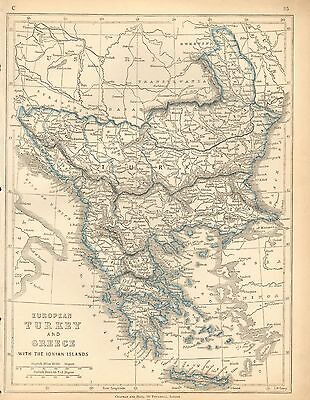 1853 Ca ANTIQUE MAP H/COL LOWRY-EUROPEAN TURKEY AND GREECE WITH IONIAN ISLANDS