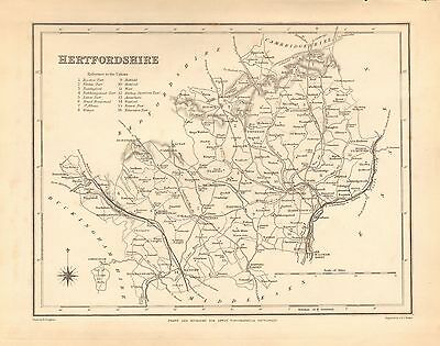 1842 Antique County Map- Hertfordshire,Hatfield,St Albans,Watford,Royston,Steven