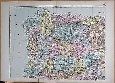 1890 Large Victorian Map - Iberia, Spain & Portugal North West