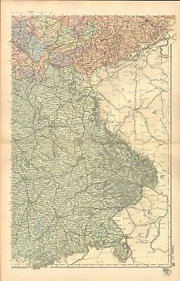 1893 Antique Map - Germany South East, Munich, Nuremberg, Dresden