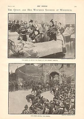 1900 Antique Print - Boer War- Queen And Wounded Soldiers At Woolwich