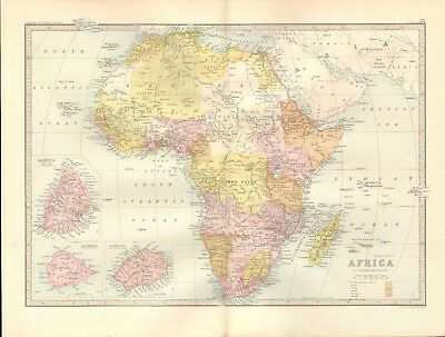 1890 Antique Map - Africa