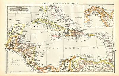 1895 Large Antique Map-Central America And West Indies