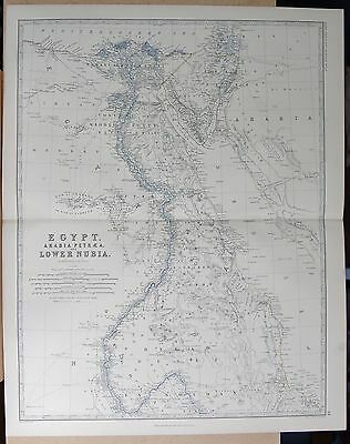 1875 Extra Large Antique Map - Egypt, Arabia, Petraea, Lower Nubia