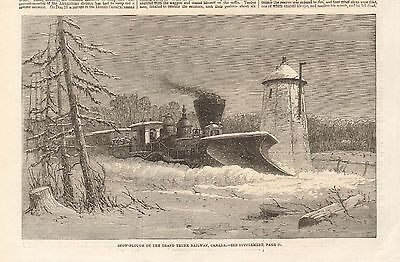 1862 Antique Print- Snow Plough On The Grand Trunk Railway, Canada