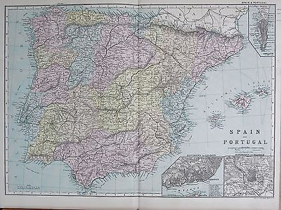 1890 Large Victorian Map -  Spain And Portugal, Inset  Lisbon, Madrid, Gibraltar