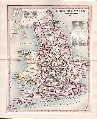 1845 Antique Map-Dugdale/Archer - England And Wales, Railroads & Canals