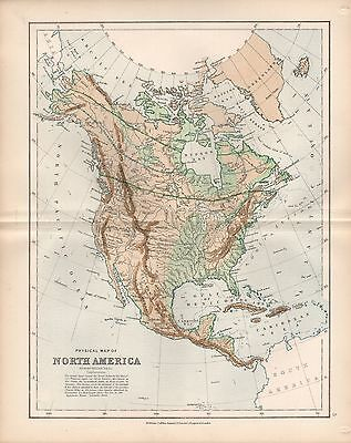 1875 Ca ANTIQUE MAP - PHYSICAL MAP OF NORTH AMERICA