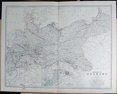 1875 Extra Large Antique Map - Empire Of Germany, Northern Section, Berlin Potsd