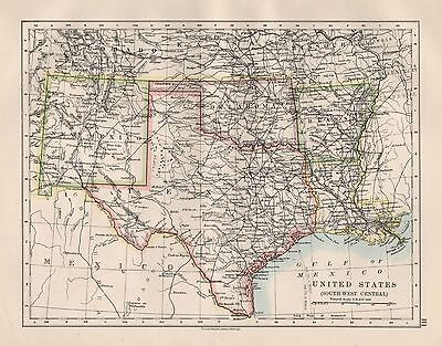 1920 Vintage Map- United States, South West Central