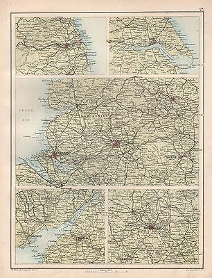1900 Large Map Regions, Newcastle, Hull, Manchester, Birmingham,Bristol 5 Images