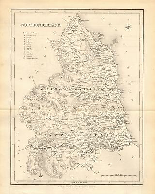 1842 Antique County Map- Northumberland, Berwick,Morpeth,Bellingham,Wooler