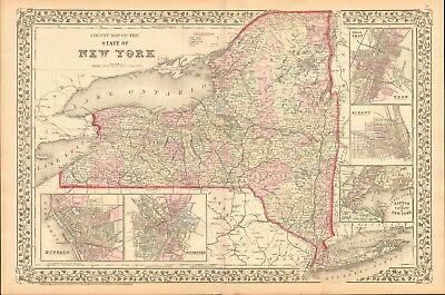 1874 Antique Map - Usa - State Of New York, Albany,Harbour, Troy, Rochester,Buff