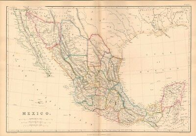 1859  Large Antique Map - Lowry- Mexico