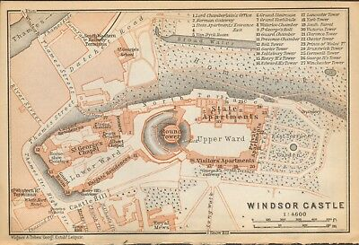 1911 - Antique Map - London - Plan, Windsor Castle