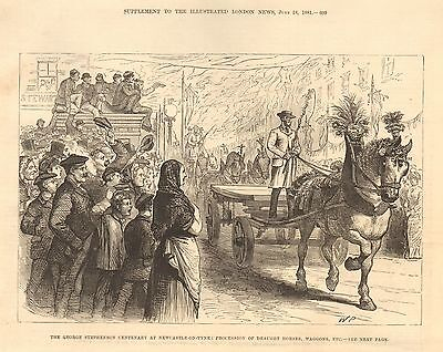 1881 George Stephenson Centenary Newcastle On Tyne Procession Of Draught Horses