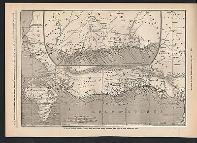 1873 Maps Of Africa Upper Guinea And The Gold Coast Showing Site Of Ashantee War